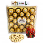 Great Kindness - Cashewnuts, Ferrero Rocher 24 Pcs, Red Ganesha Idol