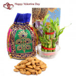 Dear Love - Almond in Potli (D), 2 Layer Bamboo Plant and Card