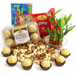 Very Likely - Almonds & Cashews, 2 Layer Bamboo Plant, Ferrero Rocher 16 Pcs, Soan Papdi 250 gms