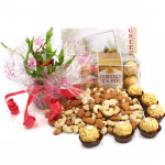 Luck N Affection - Almonds & Cashews, 3 Layer Bamboo Plant, Ferrero Rocher 16 Pcs