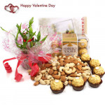 Luck N Affection - Almonds & Cashews, 1 Layer Bamboo Plant, Ferrero Rocher 16 Pcs and Card