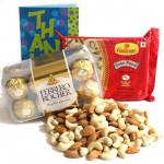 Mixed Joy - Almonds & Cashews, Soan Papdi 250 gms, Ferrero Rocher 16 Pcs