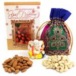 Divine Potli - Almonds & Cashews in Potli (D), Decorative Ganesh Idol