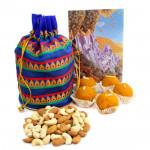 Mini Sweet Treat - Almonds & Cashews in Potli (D), Kanpuri Boondi Laddoo 250 gms