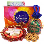 Mighty Fun - Almonds in Potli (D), Cadbury Celebrations, Kaju Katli 250 gms, Decorative Thali