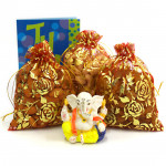Huge Surprise - Cashew in Potli, Almond in Potli, Raisins in Potli, Decorative Ganesh Idol