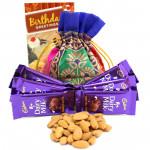 Whooping Joy - Almonds in Potli (D), 6 Cadbury Dairy Milk