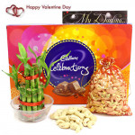 Celebrate Luck - Cashew in Potli, Cadbury Celebrations, 2 Layer Bamboo Plant and Card