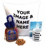 Cushiony Potli - Almonds in Potli (D), Personalised Cushion, Personalised Mug