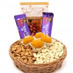 Sweet Nutties - Cashew Almond in Basket, Kanpuri Boondi Laddoo 250 gms, 2 Dairy Milk Fruit N Nut
