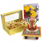 Nutty Chawki - Assorted Dryfruits in Box, Marble Ganesha on Chawki