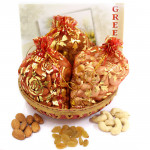 Basket of Potlis - Almonds in Potli, Cashewnuts in Potli & Raisins in Potli with Basket