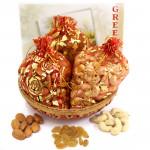 Basket of Potlis - Almonds in Potli, Cashewnuts in Potli & Raisins in Potli with Basket