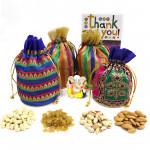 Quadro Divinity - Cashewnuts in Potli (D), Almonds in Potli (D), Raisins gms in Potli (D), Pista in Potli (D), Decorative Ganesha Idol