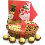 Foodie's Delight - Assorted Dryfruits in Basket, Ferrero Rocher 4 pcs