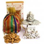 Pleasure - Almonds in Potli (D), Kaju Anjir Roll 250 gms, Oxydized Ganesh Diya