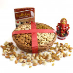 Divine Glee - Assorted Dryfruits in Basket, Red Ganesh Idol