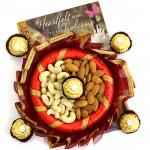 Contenting Combo - Almond Cashewnuts in Decorative Thali, Ferrero Rocher 4 pcs