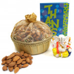 Fortunate - Almond in Decorative Basket, Decorative Ganesh Idol