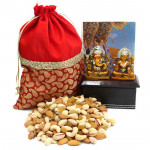 Pleased & Blessed - Assorted Dryfruits in Potli (D), Lakshmi Ganesha Idol