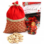 Glowing Gift - Pistachio Potli (D), Red Ganesh Idol