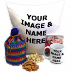 Beatific Combo - Cashewnuts and Almonds in Potli (D), Personalized Cushion, Personalized Mug