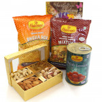 Sweet Delight - Assorted Dryfruits in Box, Gulab Jamun Tin 500 gms, 2 Haldiram Namkeen