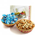 Dryfruit Truffles - Cashewnuts and Almonds in Basket, Assorted Truffles in Basket