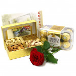 Crunchy Delight - Assorted Dryfruits in Box, Ferrero Rocher 16 pcs, 1 Artificial Rose