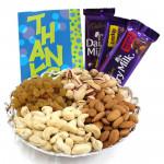 Daunting Combo - Assorted Dryfruits, Dairy Milk Crackles, Dairy Milk Fruit N Nut, Dairy Milk (L)