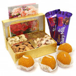Extraordinary Gift - Assorted Dryfruits, Kanpuri Boondi Laddoo 250 gms, 2 Dairy Milk Fruit N Nut