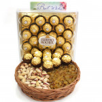 Enchanting Treat - Pistachio Raisins in Basket, Ferrero Rocher 24 pcs