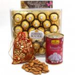 Important Combo - Almond in Potli, Rasgulla 500 gms Tin, Ferrero Rocher 24 Pcs