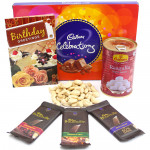 Illustrious Gift - Cashewnuts, Cadbury Celebrations, Rasgulla 500 gms Tin, 3 Bournville