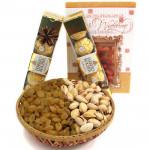 Celebrated Joy - Pistachio Raisins in Basket, 2 Ferrero Rocher 4 pcs