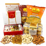 Nice Hamper - Assorted Dryfruit, Kaju Mix 250 gms, Ferrero Rocher 16 pcs, 2 Haldiram Namkeen