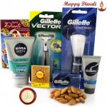 Grooming Time - Gillette shaving brush, Gillette Vector Razor, Nivea Men's face wash, Gillete Shaving Gel, Badam 100 gms in potli with Bhaidooj Tikka and Laxmi-Ganesha Coin
