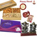 Diwali Celebration - Assorted Dryfruits 200 gms, Celebrations 121 gms, Laxmi Ganesh Idol with Bhaidooj Tikka and Laxmi-Ganesha Coin