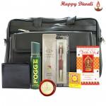 My Dear Bro - Black Office Bag, Fogg Deo, Leather Black Wallet, Parker Vector Standard Ball Pen with Bhaidooj Tikka and Laxmi-Ganesha Coin