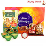 Joyous Fest - Cadbury Celebrations, Lakshmi Ganesha Idols with 4 Diyas and Laxmi-Ganesha Coin