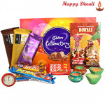 Feast of Joy - Cadbury Celebrations, 2 Temptation, Dairy Milk Silk 60 gms, 2 Five Star, 2 KitKat, 2 Perk, Lakshmi Ganesh Idols with 4 Diyas and Laxmi-Ganesha Coin
