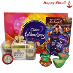 Ganesha's Blessings - Cadbury Celebrations, Ferraro Rocher 16 Pcs, 2 Dairy Milk, Ganesha Idol with 4 Diyas and Laxmi-Ganesha Coin