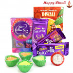 Mini Treat - Mini Cadbury Celebrations, Dairy Milk Fruit & Nut, Dairy Milk Crackle, Dairy Milk Silk 60 gms with 4 Diyas and Laxmi-Ganesha Coin