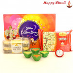 Celebration Papdi - Cadbury Celebrations, Haldiram Soan Papdi 250 gms, Ferrero Rocher 16 Pcs, Ganesha Idol with 4 Diyas and Laxmi-Ganesha Coin