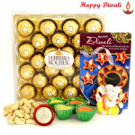 Kaju Crunch - Ferrero Rocher 24 Pcs, Cashew 200 gms, Ganesha Idol with 4 Diyas and Laxmi-Ganesha Coin