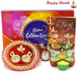 Diwali Celebrations - Cadbury Celebrations 118 gms, Ganesha Designer Thali with 4 Diyas and Laxmi-Ganesha Coin