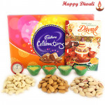 Happy Diwali - Cadbury Celebrations, Cashew, Almond, Pista 300 gms in Box with 4 Diyas and Laxmi-Ganesha Coin