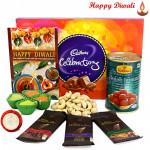 Sweet Diwali - Cadbury Celebrations, Haldiram Gulab Jamun 500 gms, 3 Bournville 30 gms, Cashewnuts with 4 Diyas and Laxmi-Ganesha Coin