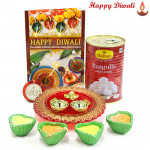 Sugary Treat - Haldiram Rasgulla 500 gms, Ganesh Designer Thali with 4 Diyas and Laxmi-Ganesha Coin