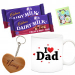 Classic Combo - Father's Day Mug, 2 Dairy Milk Fruit N Nut 30 gms, Personalized Keychain & Card